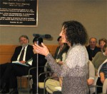 Janet Levy, addressing the board, in favor of the development. She was a rare voice in favor amidst the vast majority who came to oppose the plan.
