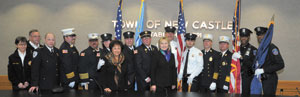 "At the ceremony, Secretary Clinton commended first responders as ""the backbone"" of our community."