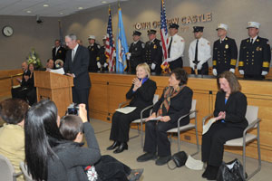 Residing Town Justice Douglas Kraus introducing Congresswoman Nita Lowey at January's Town Hall Swearing in ceremony. Photo Carolyn Simpson