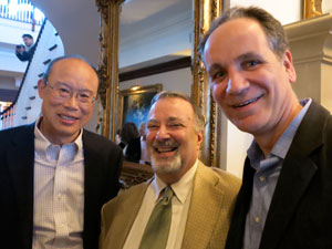 (L-R): All smiles: John Chow, Assistant Superintendant for Business; former Board of Education member Jay Shapiro; and Andrew Selesnick, Assistant Superintendant for Leadership Development and Human Resources.