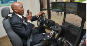 A simulator was on hand to grade drivers while they engaged in distractive behavior.