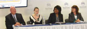 (L-R): Ed Bergstraesser (external affairs director, AT&T) Sasha Byck, HGHS student and leader of S.A.D.D., Students Against Destructive Decisions) Beverly Pierce, MA, LCSW, CASAC, CPP, Program Administrator/Supervisor, Student Assistance Services, and Deborah Becker (Moderator and Co-founder DORCs)