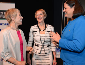 Corcoran's talk for The Business Council of Westchester's KeyBank Speaker Series, kicked off the second-annual GROW 2.0 Conference. GROW 2.0 is the largest gathering in the region for business owners, entrepreneurs and professionals to attend networking, training and workshops centered on business development and strategy. (L-R): Barbara Corcoran, Marsha Gordon, Ruth Mahoney