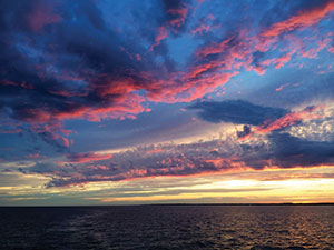 Sunset over the Long Island Sound on a Real Escape Yacht Cruise