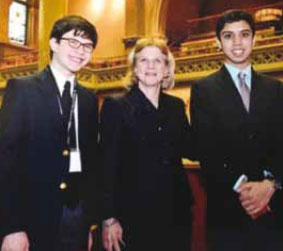 Horace Greeley High School students Brandon Hilfer (left) and Dev Jhavieri (right) with Assemblywoman Mayer at the League's Students Inside Albany Conference.