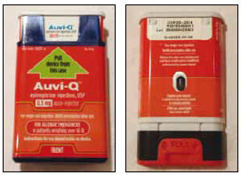 Auvi-Q epinephrine injection device, front and back