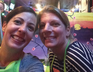 Heather Brill and Nicole Meyer share friendship and fun at a previous Paint Nite event.