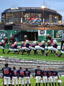 What dreams are made of…playing Monday Night Football at MetLife Stadium. #66 Jack Marinello, #5 Carter Salore, #26 Joe Weiner and #1 Ethan Schiekofer. Photo by Mark Salore