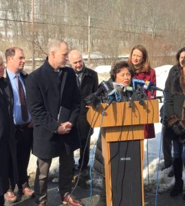 Both Congresswoman Nita Lowey and Congressman Sean Patrick Mahoney (to her left) arrived to address railroad crossing hazards. Town Supervisor Robert Greenstein challenged public officials to take action on improving safety in the wake of the tragedy.