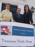 Treasures volunteers, from left to right: Chum Bogart, Nan Bircham and Amy Knoll Lashmet