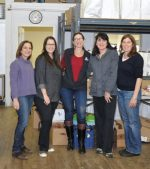 At the Wholeshare distribution site, from left to right: Ilene Popkin, Debbie Rogers, Robin Murphy, Linda McGetrick and Nancy Silver. Photos by Carolyn Simpson
