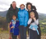 Don Hawthorne, Francine Kellner and their three girls in Scotland