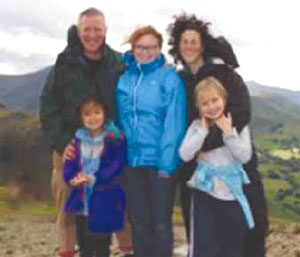 Don Hawthorne, Francine Kellner and their three girls in Scotland