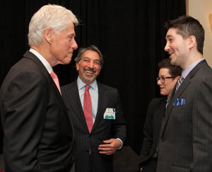 Nick Brozman found a moment to chat with President Bill Clinton, too.
