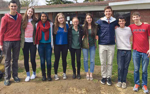 Turning Point Tutors, left to right: Alex Kogan, Sami Burack, Divya Gopinath, Mel Benson, Jen Semler, Izzie Gutenplan, Calder Fontaine, Michael Doppelt, Jake Horwitz