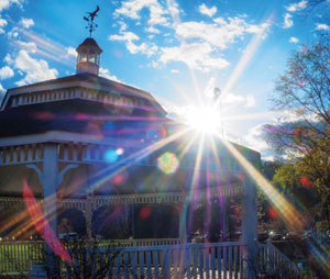 The gazebo at Recreation Field serves as a bandstand for the Summer Concert Series. Photo © 2015 Marianne A. Campolongo