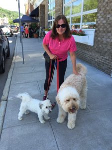 Everyone loves Chappaqua's Sidewalk Sale Event, even havanese Harley (L) and goldendoodle Casey, here out for a shopping stroll with Mom, Ellen Fiorella.