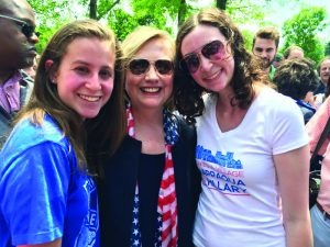 Hillary Clinton with Gillian (left) and Lindsay Hand