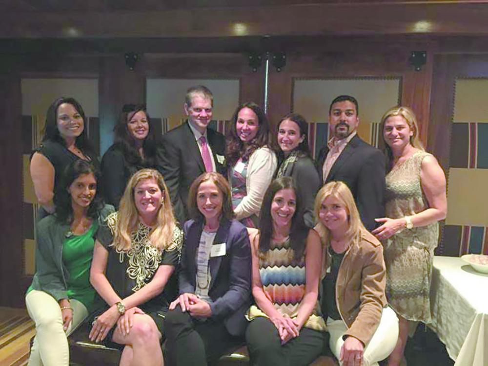 The 2015-2016 BHPTSA Executive Board, shown left to right. Back row: Edi Lentini, Toni Nieves, Rob Fermann, Abby Woodworth, Robin Jacobs, Petrie Verma, Lara Stangel. Front row: Khatija Lad- hani, Nanci Keltz, Leslie Goldman, Dana Goldman, Hollie Levy