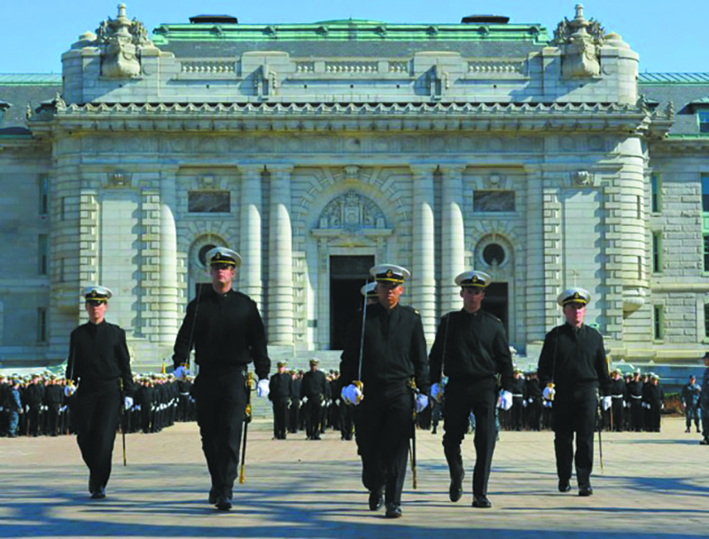 Ben Berkey, second from left, during Formal Parade outside of Bancroft Hall, United States Naval Academy