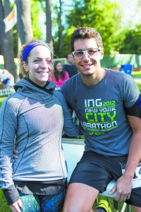"BHHS grads Jeannette Martimucci (left) and Evan Bauer often come back to visit and for community events. Running for the first time, Evan says he's especially happy to be part of something that ""brings community together."""