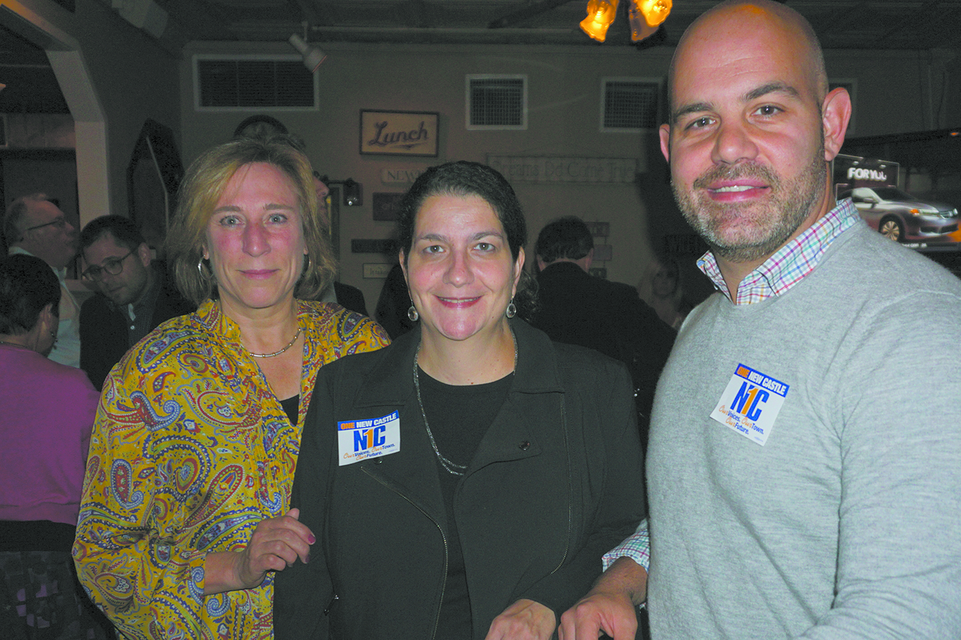 At a fundraiser inside the Quaker Hill Tavern: One New Castle candidates (from left) Hala Makowska, Victoria Alzapiedi and Jeremy M. Saland