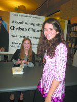 Amanda with Chelsea Clinton at the Chappaqua Library book signing