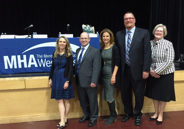 L-R: MHA's Head of Personal Development, Education and Training Dr. Barbara Bernstein; MHA Board Member Sean Mayer; Educator Shari Applebaum; Byram Hills High School Principal Chris Borsari; and Reverend Frances Wise Grenley of Scarsdale Congregational Church