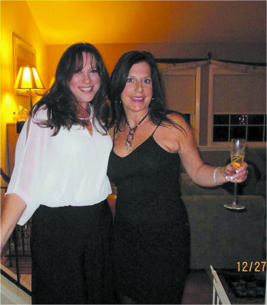 Grown-up time! Our author (right) takes time away from kids to co-host an annual holiday party with Jennifer Cahill.
