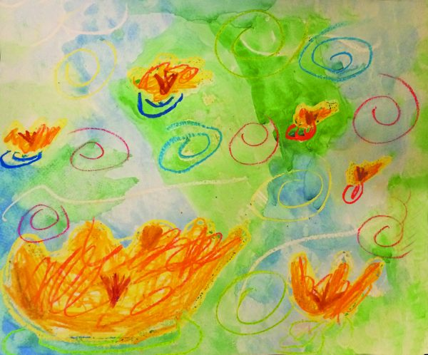 A seven year old student inspired by Monet's water lilies