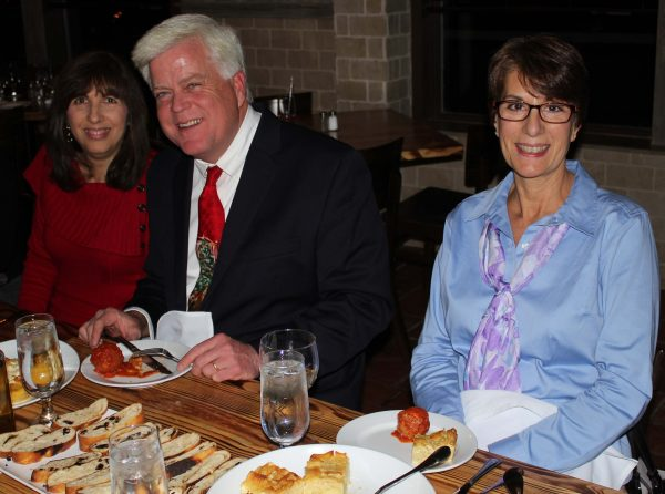 Chris Carthy with wife Laura (in red) and with Barbara Reiter