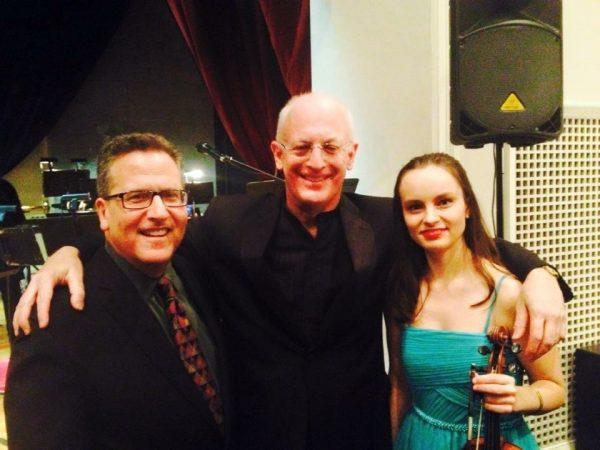 (L-R): Narrator Elliott Forrest (WQXR), Conductor Michael Shapiro, Soloist Kinga Augustyn