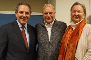 Joel Seligman with Eric Rosenfeld and Sally Rosenfeld. Seligman related the story of how Eric's mom, the late Louise Rosenfeld of Chappaqua, had suffered from a burn injury while Louise and her husband Gabby, `were abroad. She was pregnant with Eric and physicians at a hospital in Holland advised terminating the pregnancy to heal with the burn treatments. She refused, went home and received treatment in New York while continuing to battle the burn injury; eventually Eric was born at Northern Westchester Hospital where he and Louise received optimal care. Eric is now a member of the Hospital Foundation's board.