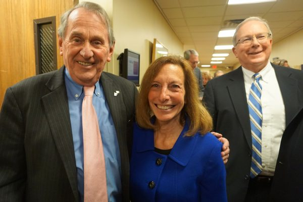 Lewisboro Town Superintendant Peter Parsons with Susan Spear, regional director for Senator Gillibrand. On the right: George Oros, chief of staff for the County Executive office.