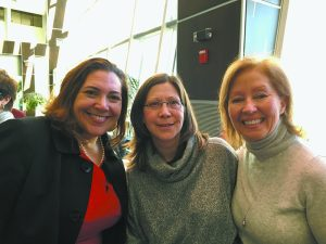 (L-R) Catherine Borgia, Westchester county legislator, Joyce Stansell-Wong of Chappaqua, and Ann Styles Brochstein at Hillary Breakfast