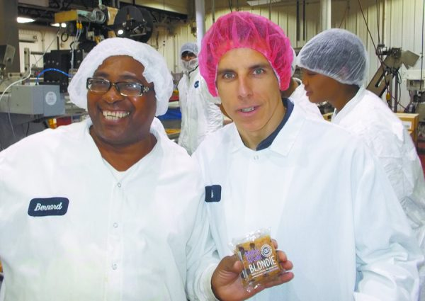"""""""I've been on the production floor at Greyston and met many of the employees there. I can tell you, there's no better organization than Greyston in fighting poverty. Please join me in support of this extraordinary organization."""" –Ben Stiller, Chappaqua Resident, pictured (right) with Greyston Employee Bernard Anderson"""