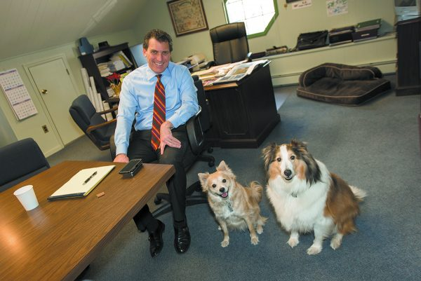 Supervisor Schiliro with his dogs, Rudy (L) and Cosmo