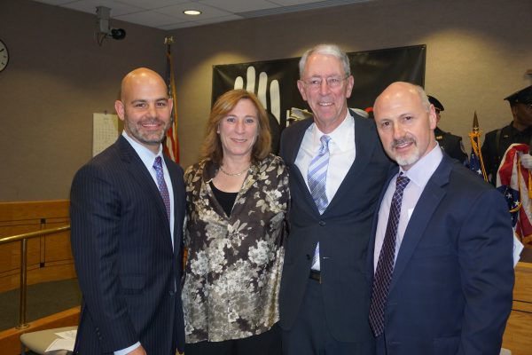 Sworn in to serve (l-r): Jeremy Saland, Hala Makowska, Douglas Kraus, and Robert Greenstein
