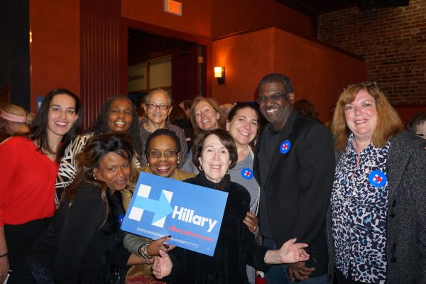Long time Hillary Clinton advocate and past regional director Geri Shapiro (front and center) with new volunteers for Westchester for Hillary.