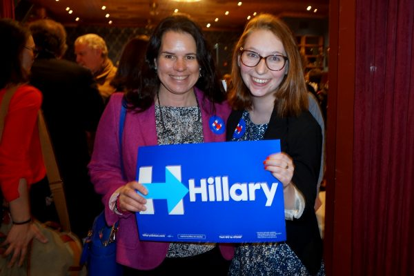 Chappaqua resident (L) Lori Gowen Morton (a member of both Chappaqua Friends of Hill and Hillary NOW --also a Chappaqua based group reaching out to neighboring towns) with Hannah Fine, Westchester for Hillary field organizer