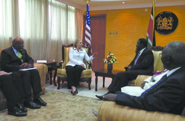 Secretary Hillary Clinton in conference in Kenya during a 2012 State Department mission.