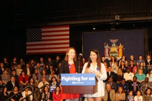 Westchester field Organizers Hannah Fine (left) and Izzy Bugatti