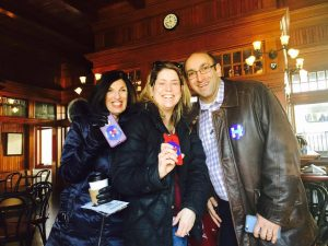 CFOH volunteers Randee Glaser, Marie Hollinger Short and Jason Lichtenthal at Chappaqua Station recently to recruit volunteers for phone banking and canvassing for HIllary's campaign in Westchester.