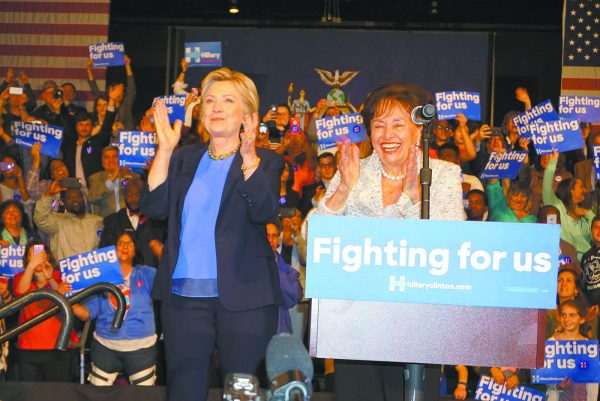 Congresswoman Nita Lowey on the podium with HRC rallying supporters