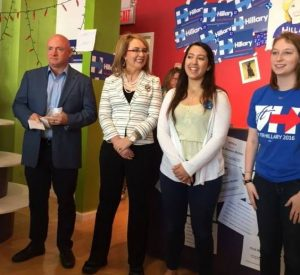 (Former) Congresswoman Gabby Giffords with Captain Mark Kelly and Westchester field directors Izzy Bugatti (left) and Hannah Fine at the White Plains Westchester for Hillary headquarters     Photo by Jessica Meller