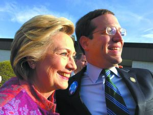 At the Gra in School on New York Primary Day: David Buchwald with Hillary Clinton. Ann Styles Brochstein/Hillary NOW Photo