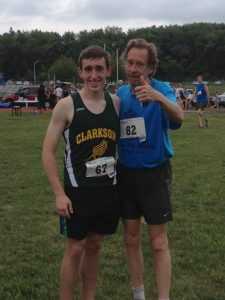 Our winner from last year, Lucas Patrizio of Port Chester with Bill Rodgers.