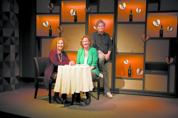 Hudson Stage Company co-founders Olivia Sklar (left), Denise Bessette (center) and Dan Foster (right) on the set of their Spring 2016 production of Animals Out Of Paper.