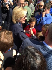 POTUS candidate and neighbor Hillary Rodham Clinton greeting fans at the 2015 Memorial Day parade in New Castle.
