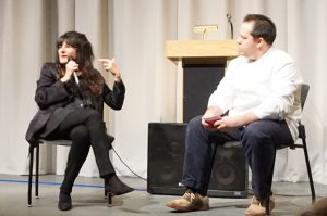Following Reichl's talk at the North Castle Public Library, an animated audience question and answer period was moderated by Chef Eric Gabrynowicz of Restaurant North